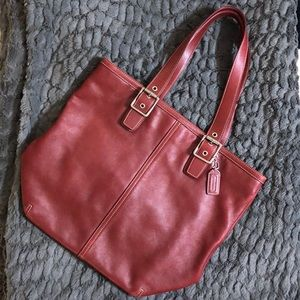 COACH Red Leather Shoulder Bag